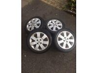 4 Part Worn tyres 185/55/R15 + wheels