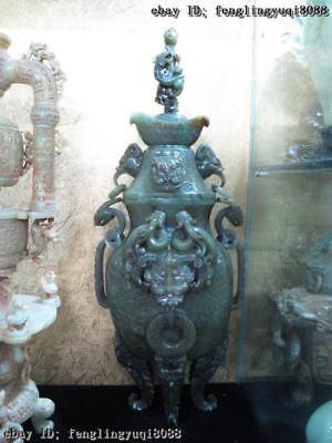 Crude Old cyan Jade Handwork Carve Qing Dynasty beast veins Zun Aquarius Vase