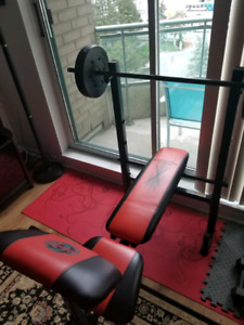 Red & black bench press w/weights