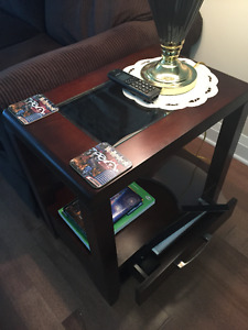 2 End Tables with Glass Top  9 months Old