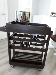 Rolling Wine Cart W/ Removable Top Tray and Towel Holder