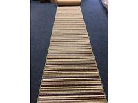 Modern Striped 100% Wool Whipped Carpet Runner, 66 X 400cm
