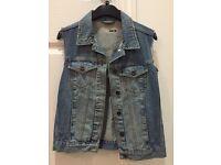 Topshop Size 8 Denim Waistcoat