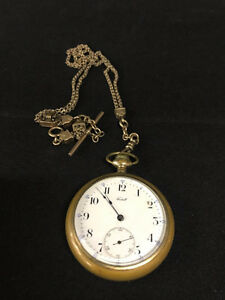YELLOW GOLD PLATED ANTIQUE GENTS POCKET WATCH