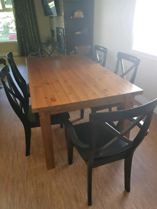 6 solid wood dining chairs (Black)