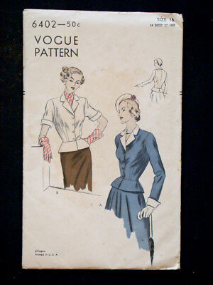 1940's Vintage VOGUE #6402 WOMENS JACKET Fashion DRESS PATTERN / Sz16 Bust 34