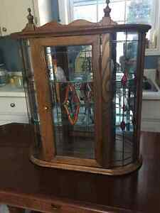 Small Oak Display Cabinet with Leaded and Stained Glass