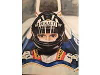 Damon hill hand painted water colour in nice quality frame