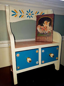 OOAK Custom Refinished Child's room Bench Shelf