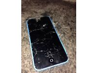 Broken iPhone 5c blue !!