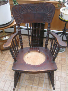 GRANDMA'S OLD COMFY ANTIQUE PRESSED-BACK ROCKING CHAIR