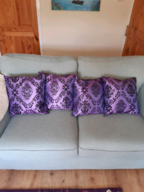 Brand New 4 Duck Feather Satin Purple Cushions