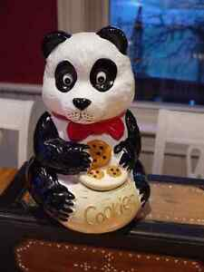 Panda Cookie Jar, VIntage holding 3 cookies