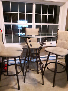 Bar Height glass table & 3 chairs