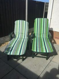 Sun beds with cushions x2