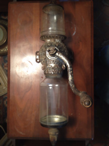 Antique ARCADE CRYSTAL wall mounted coffee grinder