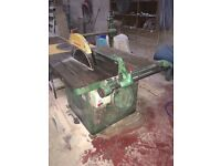 """Dominion Type E.F. 20"""" Circular Rip Saw Bench with Roller out feed Table."""