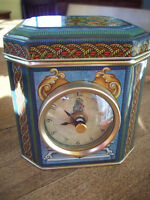 Tin Box  with Cover and built in Clock