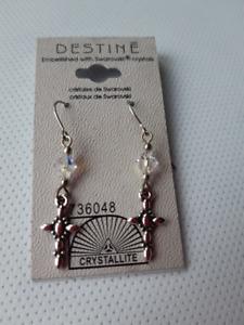"""BNWT, Austrian Crystal """"Cross"""" Earrings"""