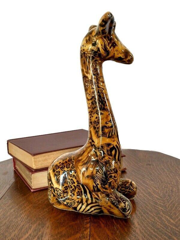 Vtg Giraffe Figure Safari Animal Print Patchwork Lacquer Sculpture African Art