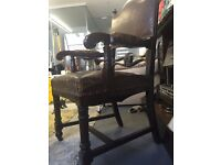 Antique Brown leather gothic throne style chair