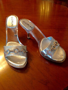 Silver Slip-On High Heel Mules with Clear Heels