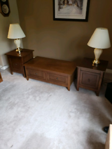 Coffee and end table set with lamps