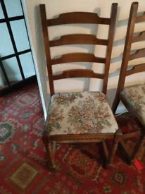 4 ladder back oak chairs