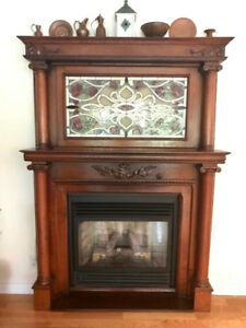 MAGNIFICENT ANTIQUE FIREPLACE MANTLE WITH STAINED GLASS INSERT