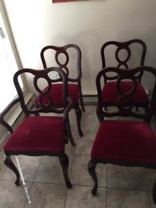 4 Solid Mahogany Dining Room Chairs for Sale