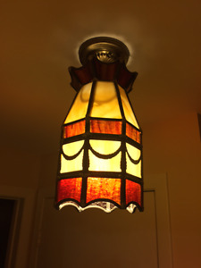 Vintage stained glass pendant lamp