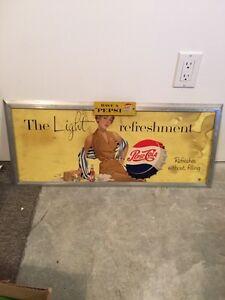 Original Pepsi cardboard ad in original frame