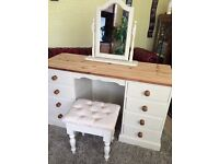 Refurbished Solid Pine Dresser with Mirror &Stool ( Free Delivery)
