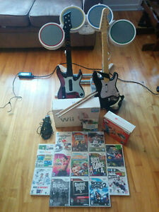 Wii + 15 jeux/games + kit Rock Band