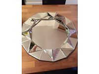 Hexagon glass Wall mirror 62cm dia