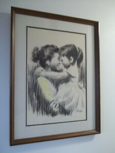 "vintage lithograph from New York ""Mother-daughter"" by Saron"