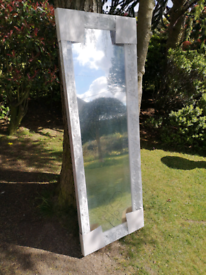 New - Large Pine White Destressed Mirror From Home Framing By Hergon
