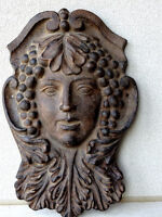 "ART NOUVEAU cast iron MAIDEN GRAPES in HAIR 16""h ARCHITECTURAL"