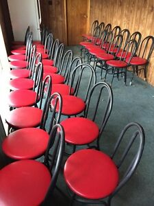 Black Metal and red padded Restaurant chairs