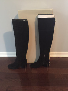 OVER THE KNEE BLACK SUEDE BOOTS MARC FISHER