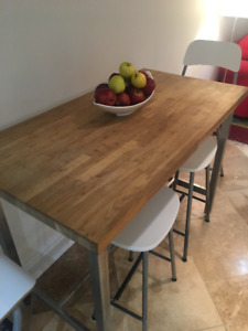 IKEA wood portable island or dining table.