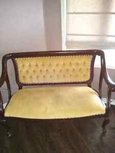 Antique love seat and chair