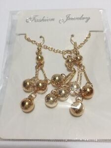 New 18 K Gold Plated Dangle Earrings Necklace Jewelry set