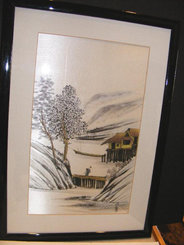 ASIAN Framed WATERCOLOR Painting on SILK Japanese Chinese Antique Oriental