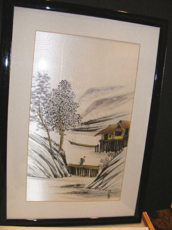 ASIAN WATERCOLOR Painting on SILK Japanese Chinese Antique Oriental Framed Beaut