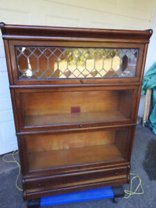 antique Globe Wernicki barrister bookcase, lead,drawer, restored
