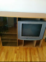 "TV Stand and 26"" Sanyo TV."