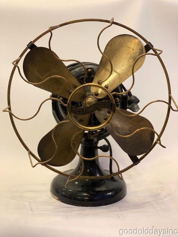 "Antique Westinghouse 12"" Brass Blade Fan Working Unrestored"