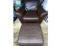 Leather brown x2 arm chairs ,one slightly scratched and foot rest