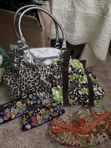 3 beautiful clutches and one overnight bag